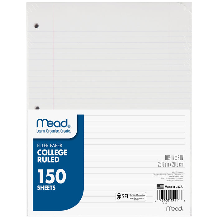 (3 Pk) Notebook Paper College Ruled 150sht