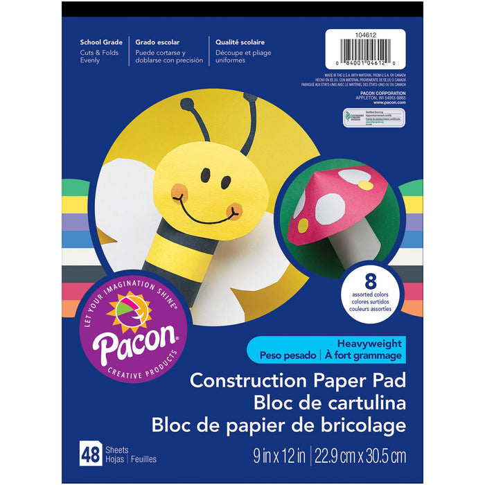 (12 Ea) Construction Paper Pad 9x12 48 Sheets Per Pad