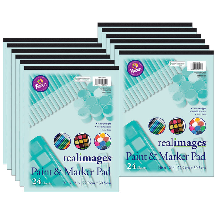 (12 Ea) Real Images Paint & Markr Pad Heavy 9x12 24 Sheets