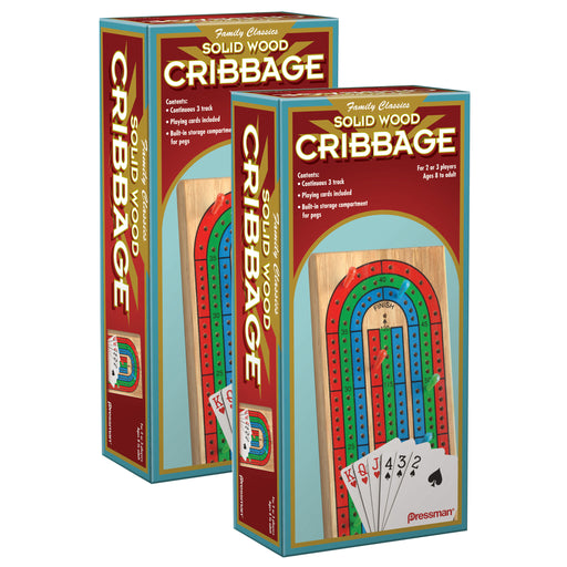 (2 Ea) Cribbage With Cards In Wood Box