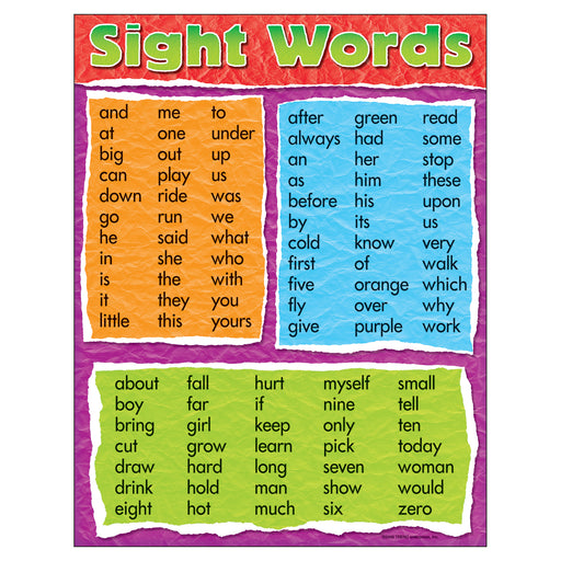 (6 Ea) Learning Chart Sight Words