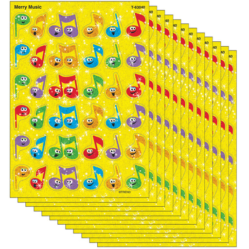 (12 Pk) Sparkle Stickers Merry Music
