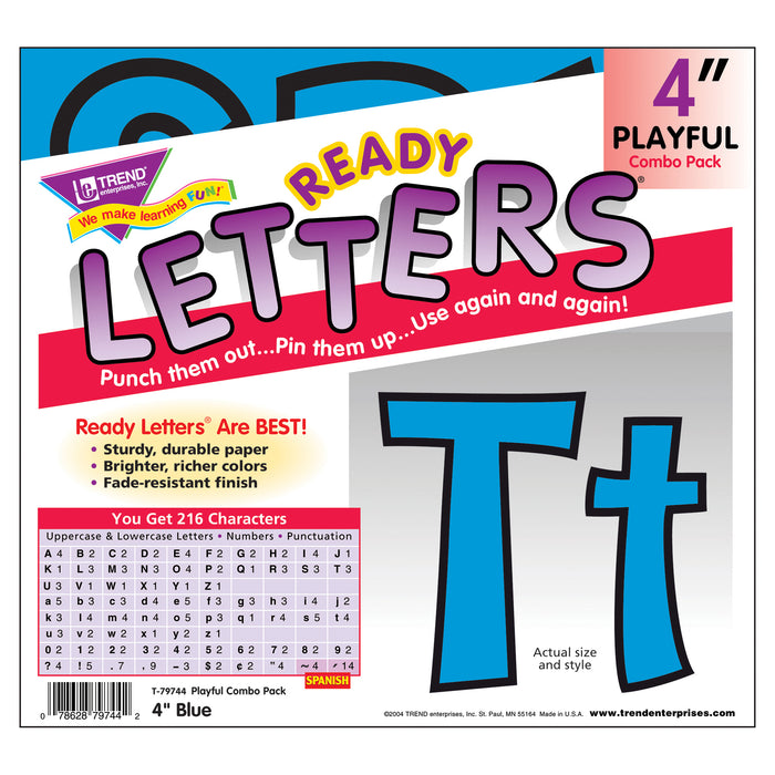 (3 Pk) Ready Letter 4in Playful Blu Uppercase & Lowercase