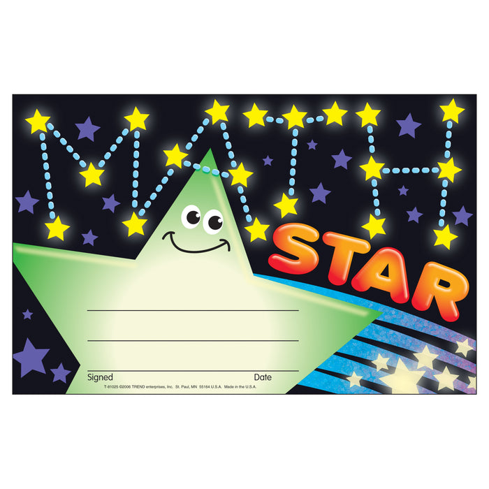 (6 Pk) Awards Math Star