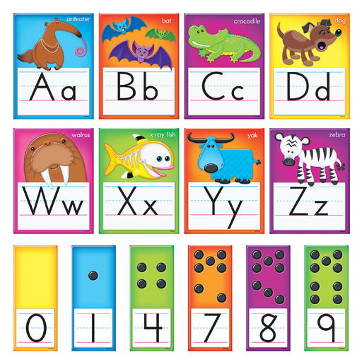 (2 St) Awesome Animals Alphabet Cards Std Manuscript Bb Set