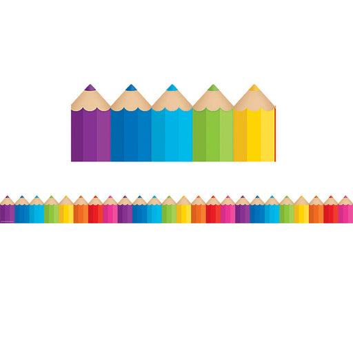 (6 Pk) Colored Pencils Die Cut Border Trim