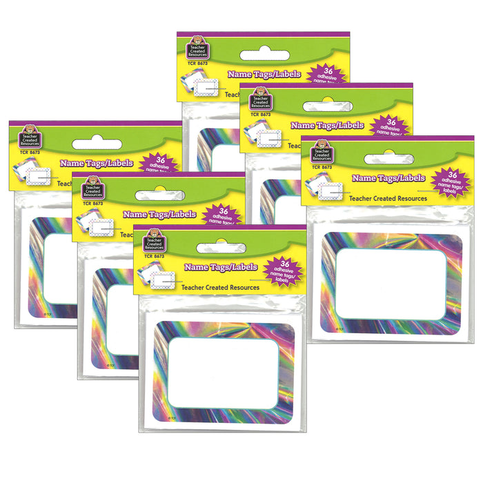 (6 Pk) Iridescent Name Tags-labels