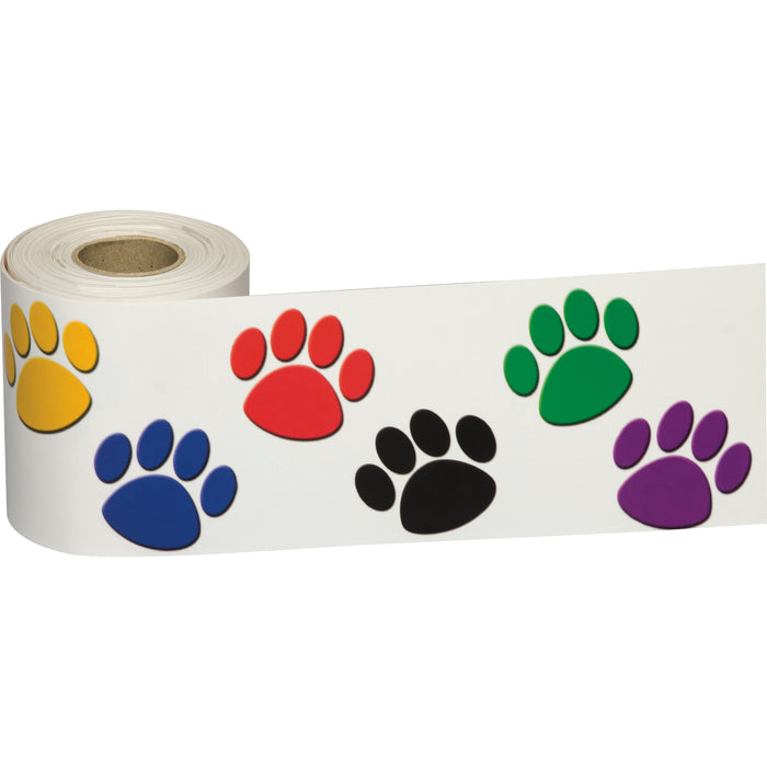 (3 Pk) Colorful Paw Prints Straight Border