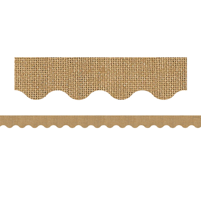 (3 Pk) Burlap Scalloped Rolled Border Trim