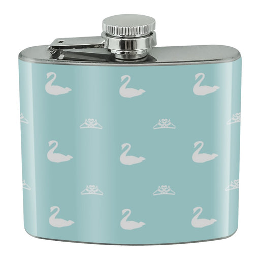 The Swan Princess Blue Pattern Baby Shower Stainless Steel 5oz Hip Drink Kidney Flask