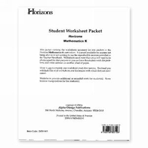 Horizon Mathematics K Student worksheet packet