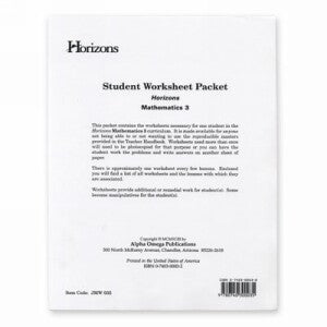 Horizon Mathematics 3 Student worksheet packet