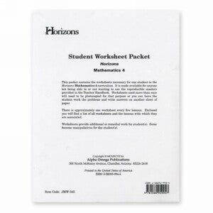 Horizon Mathematics 4 Student worksheet packet