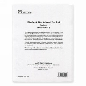 Horizon Mathematics 6 Student worksheet packet