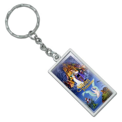 The Swan Princess Movie Poster Art Rectangle Chrome Plated Metal Keychain Key Chain