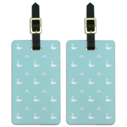 The Swan Princess Blue Pattern Baby Shower Luggage ID Tags Suitcase Carry-On Cards - Set of 2