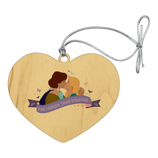 Far Longer than Forever The Swan Princess Kiss Heart Love Wood Christmas Tree Holiday Ornament