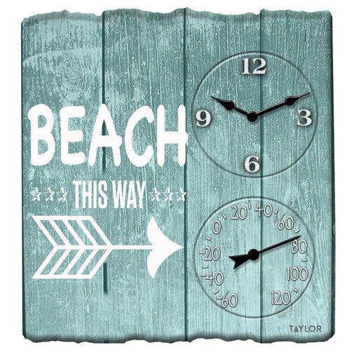 Taylor Precision Products 14-inch X 14-inch Beach This Way Clock With Thermometer