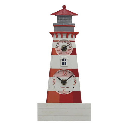 Taylor Precision Products 12-inch Lighthouse Clock With Thermometer