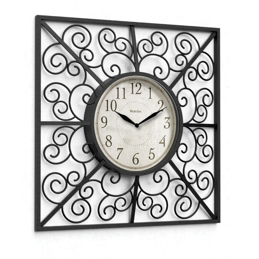Westclox 20-inch Decorative Square Wall Clock With Swirls