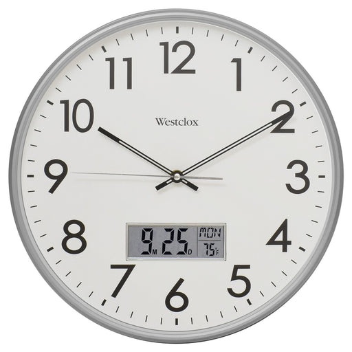 Westclox 14-inch Wall Clock With Digital Date And Temperature
