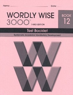 Wordly Wise 3000 Test Book Grade 12
