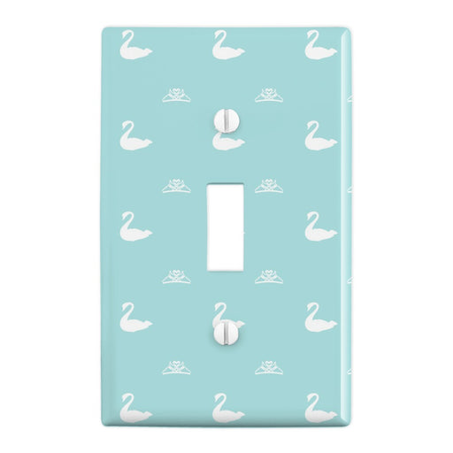 The Swan Princess Blue Pattern Baby Shower Plastic Wall Decor Toggle Light Switch Plate Cover