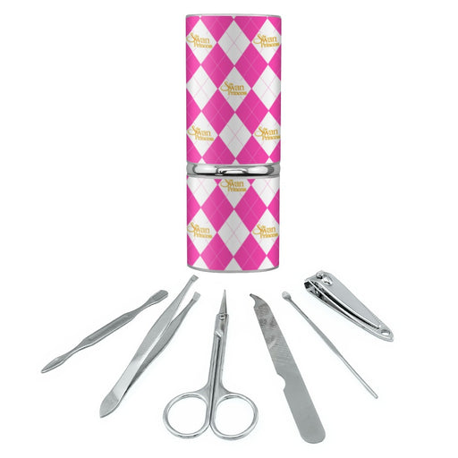 The Swan Princess Pink Pattern Birthday Stainless Steel Manicure Pedicure Grooming Beauty Care Travel Kit