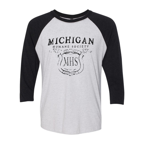 Distressed MHS Raglan - Heather White/Vintage Black