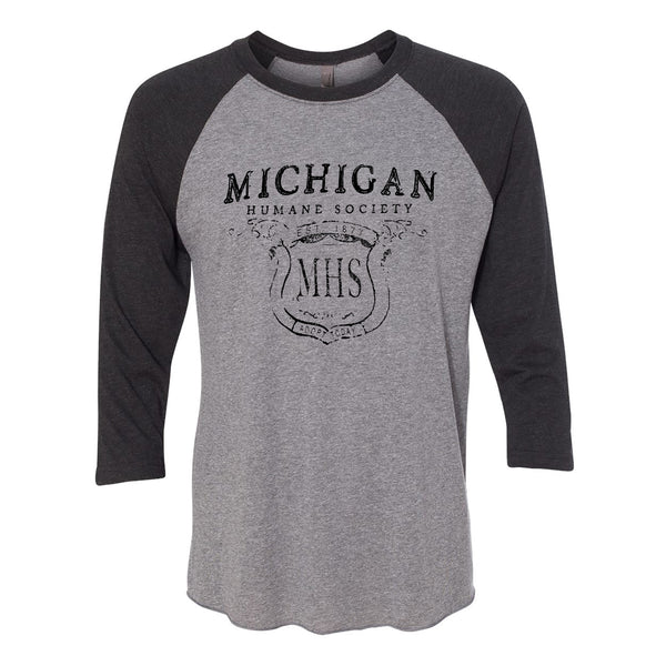 Distressed MHS Raglan - Premium Heather/Vintage Black