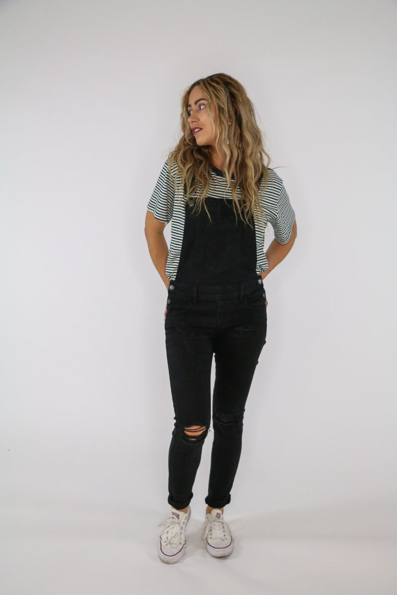 Farmer's Market Distressed Denim Overalls