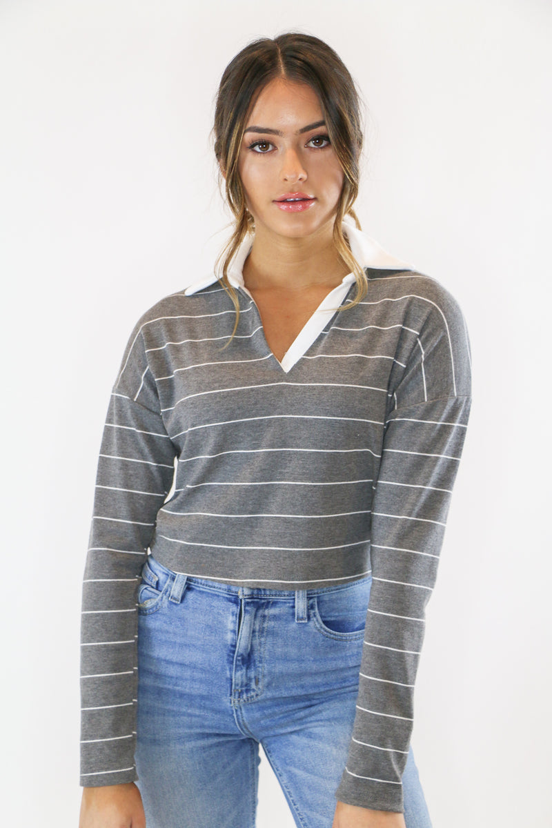 grey cropped striped polo