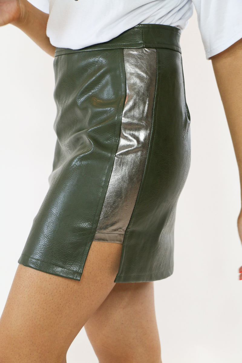 Biker Babe Faux-Leather Skirt