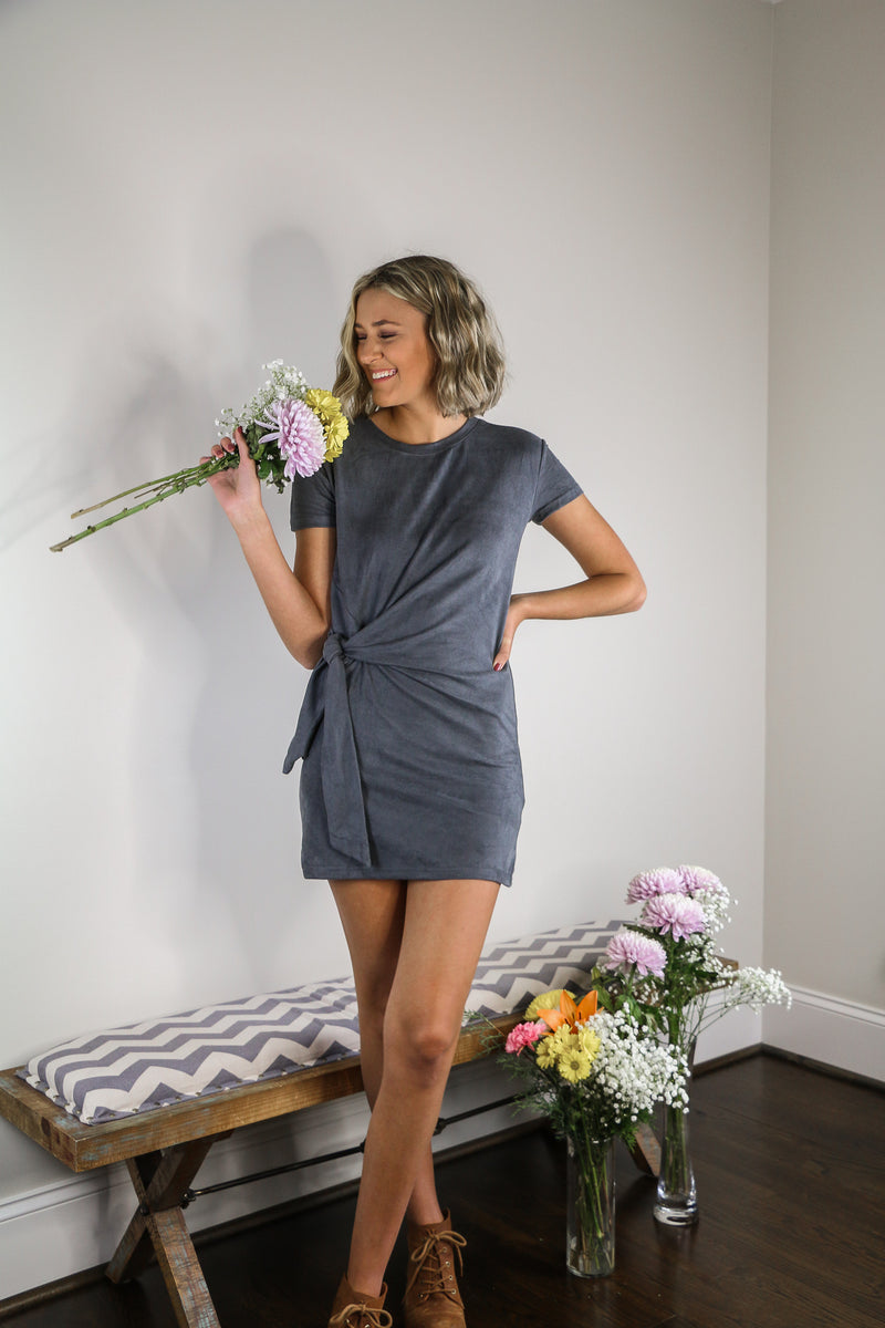 gray suede womens dress