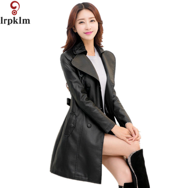 41a7787acec0 Fashion 2017 Spring New Ladies Leather Jacket Pu Black Coat Plus Size Leather  Jackets For Women