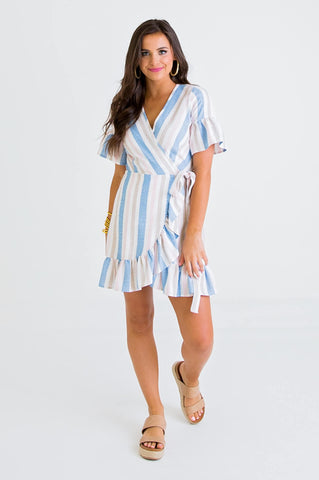 Stripe Wrap Ruffle Dress