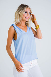 Vneck Tie Shoulder Tank - Light Blue