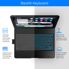 "Typecase Flexbook - iPad Keyboard Case for iPad 7th Generation (10.2"", 2019) - Backlit - 360° Rotatable - Black"