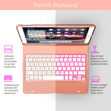 "Typecase Flexbook - iPad Keyboard Case for iPad 7th Generation (10.2"", 2019) - Backlit - 360° Rotatable - Rose Gold"