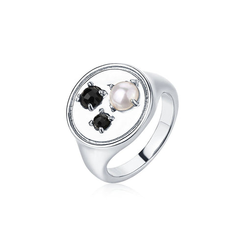 Paris Blues Signet Ring - Solid Sterling Silver 925/ Glass Pearl/ Black Onyx