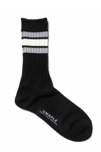 Maple - ribbed line sock - black - 100% cotton