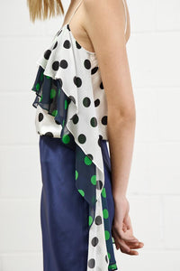 flowers top - multi polka dots