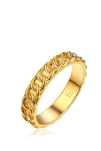 chain ring - 22k gold plated