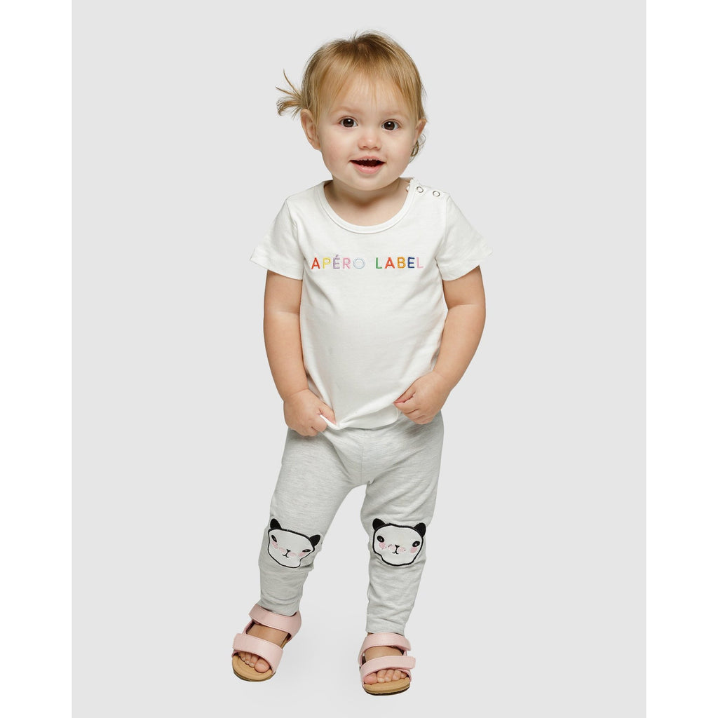 LITTLE APEOR LABEL EMBROIDERED TEE - OFF WHITE/MULTI