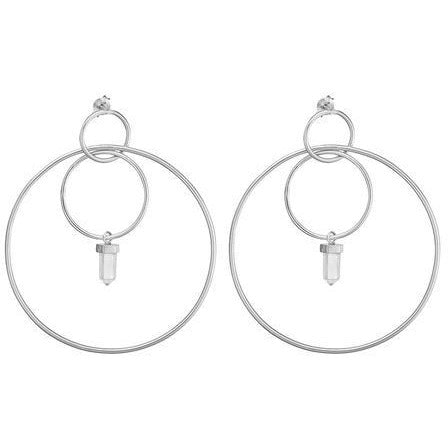 ONE DAY CRYSTAL HOOPS - STERLING SILVER