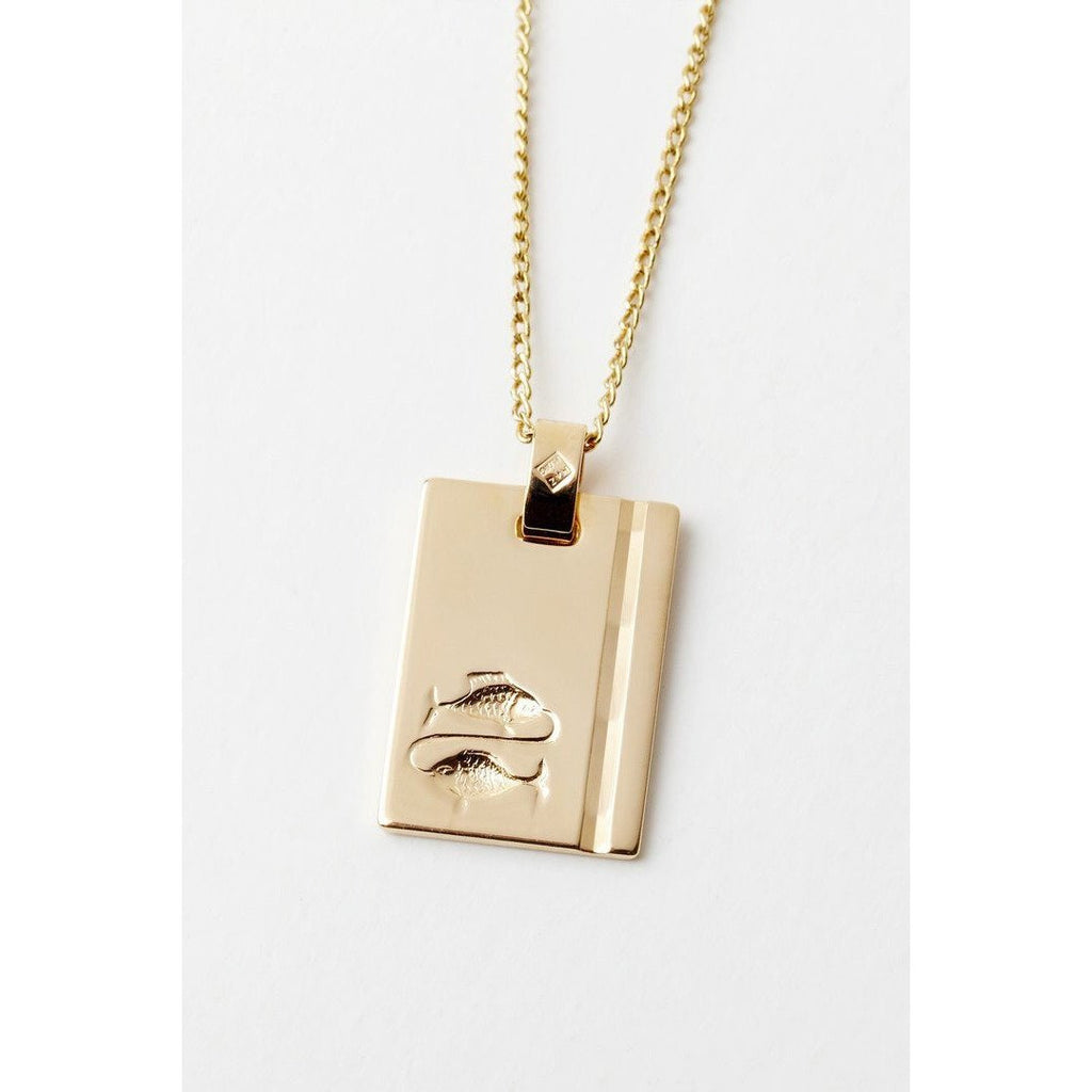 GOLD STAR SIGN NECKLACE PISCES