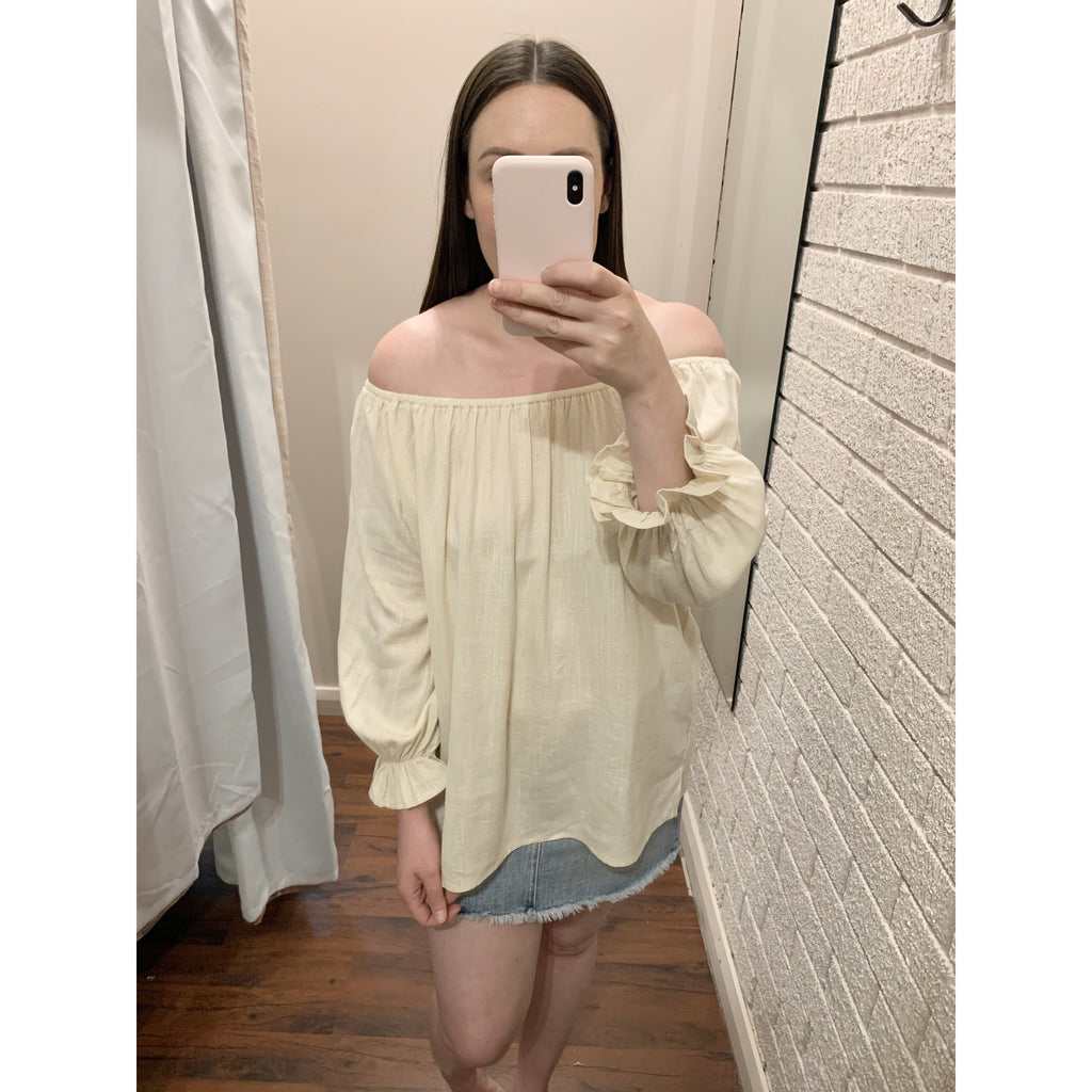LILA OFF THE SHOULDER TOP