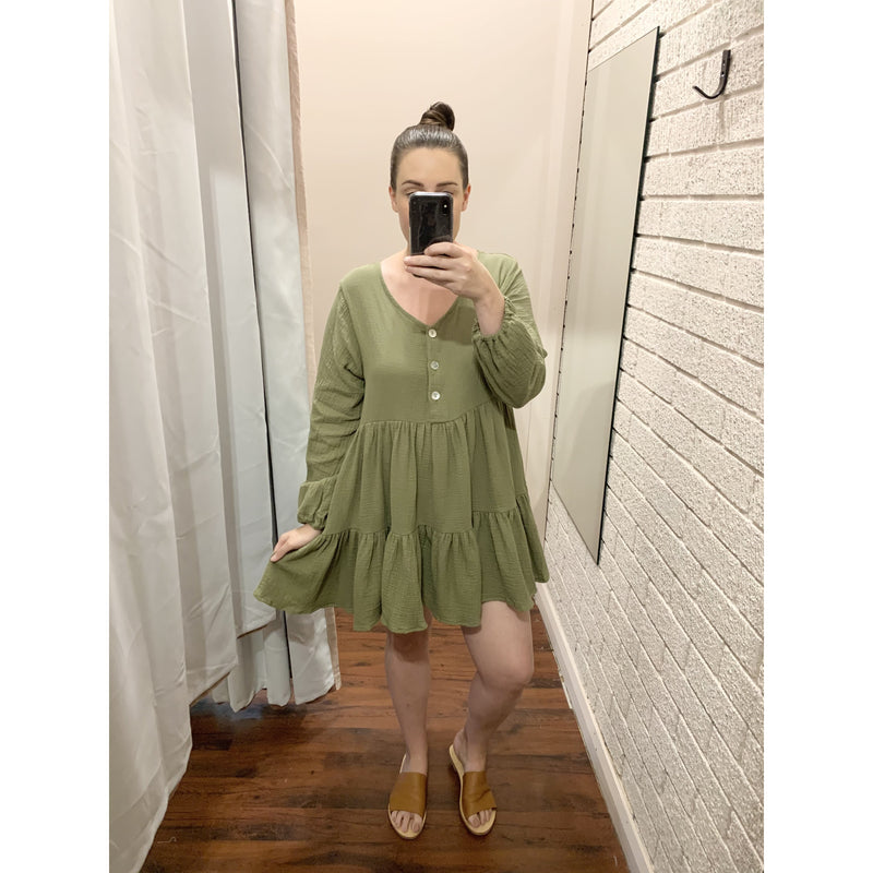 LIME L/S COTTON DRESS