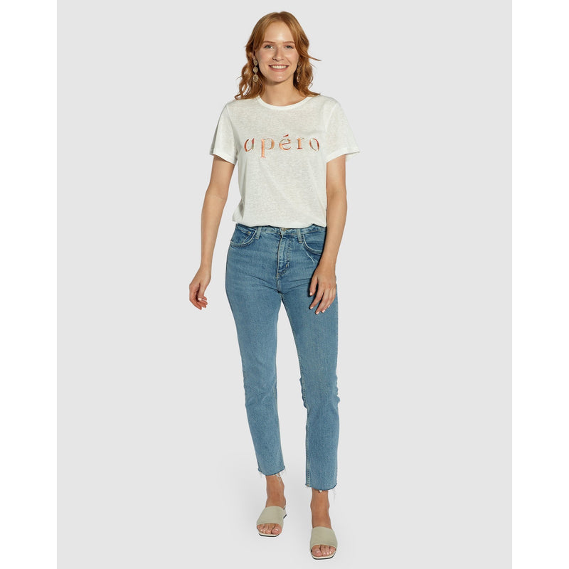 MARBLE EMBROIDERED FEMME TEE