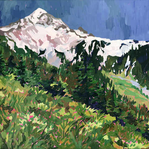 detail of McNeil Point at Mount Hood painting